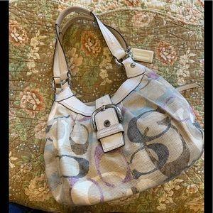 Coach signature canvas hobo w leather trim handbag